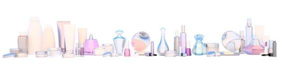L'insieme panoramico dei prodotti di bellezza e la bellezza si preoccupano il cosmetico su wh fotografie stock libere da diritti