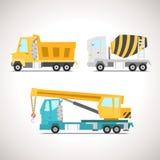 L'insieme piano dell'icona dell'automobile con attrezzatura per l'edilizia ha messo 1 Immagine Stock Libera da Diritti