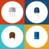 L'insieme piano di elettronica dell'icona di resiste a, triodo, transistor ed altri oggetti di vettore Inoltre include il semicon Fotografie Stock Libere da Diritti