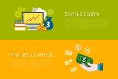 L'insieme piano di vettore di online guadagna impara le insegne di web di controllo di finanza Fotografia Stock Libera da Diritti