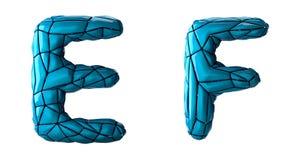 L'insieme realistico la E, F delle lettere 3D ha fatto di poli stile basso Simboli della raccolta di di plastica blu di colore di illustrazione di stock