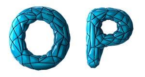 L'insieme realistico la O, P delle lettere 3D ha fatto di poli stile basso Simboli della raccolta di di plastica blu di colore di illustrazione di stock