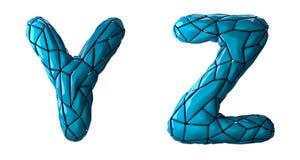 L'insieme realistico Y, Z delle lettere 3D ha fatto di poli stile basso Simboli della raccolta di di plastica blu di colore di po illustrazione di stock
