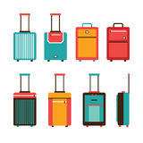 L'insieme variopinto dell'icona della borsa di viaggio continua la raccolta dei bagagli Fotografie Stock Libere da Diritti