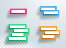 L'insieme variopinto della casella di testo di titolo impilato con 3d ombreggia la protezione della struttura Fotografia Stock