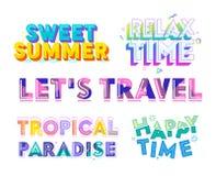 L'insieme variopinto di tipografia, l'estate dolce, si rilassa, tempo felice, Paradise tropicale, lascia il viaggio Clipart per l royalty illustrazione gratis