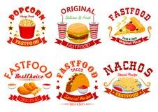 L'insigne de café d'aliments de préparation rapide a placé avec les plats à emporter illustration libre de droits