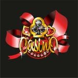 L'insigne de casino avec des procès des bijoux dans un or Photos stock
