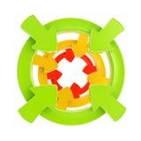 L'insigne de symbole d'attention de flèche a isolé Photo stock