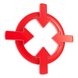 L'insigne de symbole d'attention de flèche a isolé Photographie stock
