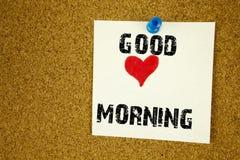 L'inspiration conceptuelle de légende des textes d'écriture de main montrant le bon concept de matin d'amour écrit sur la note co Photo stock