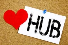 L'inspiration conceptuelle de légende des textes d'écriture de main montrant le concept de HUB pour la publicité de HUB et l'amou Images libres de droits