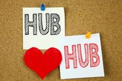 L'inspiration conceptuelle de légende des textes d'écriture de main montrant le concept de HUB pour la publicité de HUB et l'amou Images stock