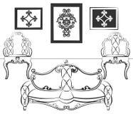 L'intérieur élégant a placé avec des meubles dans le style néoclassique illustration stock