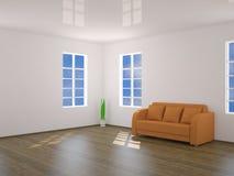 L'intérieur avec le sofa orange illustration de vecteur