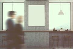 L'intérieur blanc de café, affiche a modifié la tonalité la tache floue Photographie stock libre de droits
