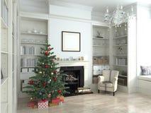 L'intérieur blanc de nouvelle année, l'arbre de Noël, 3D rendent Images stock