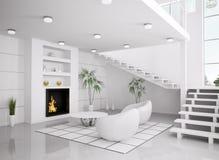 L'intérieur blanc moderne de la salle de séjour 3d rendent Images libres de droits