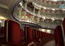 L'intérieur classique de théâtre, avec la chaise rame dans le premier plan. Photographie stock libre de droits