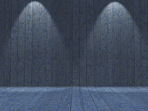 l'intérieur 3D grunge avec le bleu en bois a peint les murs et le plancher Photographie stock libre de droits
