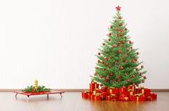 L'intérieur d'une salle avec l'arbre de Noël 3d rendent Photographie stock libre de droits