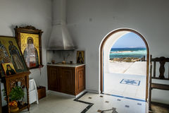 L'intérieur de l'église du saint Thekla sur le méditerranéen Images libres de droits