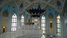 L'intérieur de la mosquée Kul-Sharif à Kazan images libres de droits