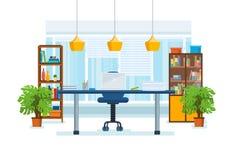 L'intérieur de la salle de bureau, avec un lieu de travail illustration libre de droits