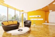 L'intérieur de la salle de séjour moderne 3d rendent Photo libre de droits