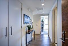 L'intérieur de luxe d'appartement présente le foyer blanc photographie stock