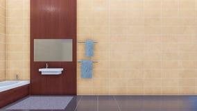 L'intérieur de salle de bains et l'espace modernes de copie ont couvert de tuiles le mur banque de vidéos
