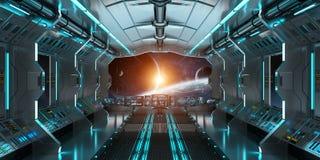 L'intérieur de vaisseau spatial avec la vue sur le système éloigné 3D de planètes rendent Image stock