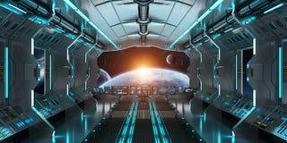 L'intérieur de vaisseau spatial avec la vue sur le système éloigné 3D de planètes rendent Photo stock