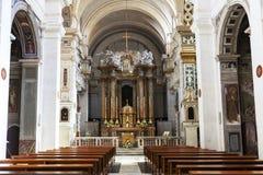 L'intérieur du dei Monti de Trinita d'église placé sur l'Espagnol fait un pas à Rome Il est situé sur le dessus même de la collin Images stock