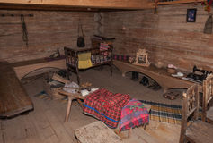 L'intérieur du musée de l'architecture en bois Vitoslavlitsy Photos libres de droits