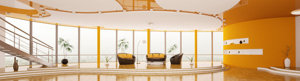 L'intérieur du panorama moderne 3d d'appartement rendent Image libre de droits