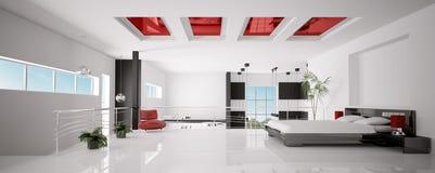 L'intérieur du panorama moderne 3d de chambre à coucher rendent Photographie stock libre de droits