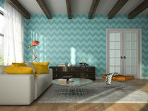 L'intérieur du salon avec le bleu wallpapers le rendu 3D illustration libre de droits
