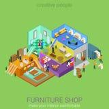 L'intérieur isométrique de boutique de meubles parquette le concept illustration stock