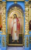 L'intérieur le temple de l'icône de Don de la mère de Dieu Image stock