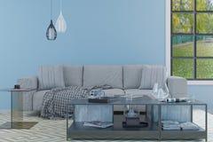 L'intérieur lumineux de salle à manger dans le bleu mure la pièce illustration libre de droits