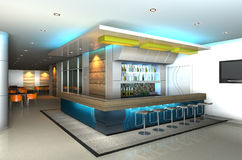 L'intérieur moderne avec 3D parent le bar Photo libre de droits