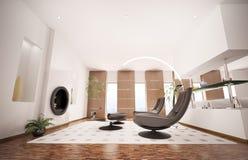L'intérieur moderne de la salle de séjour 3d rendent Photographie stock libre de droits