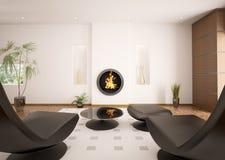 L'intérieur moderne de la salle de séjour 3d rendent Image libre de droits
