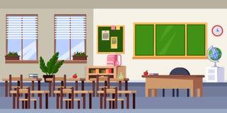L'intérieur vide de salle de classe, dirigent l'illustration plate Éléments de mobilier scolaire et de conception De nouveau au f Photos stock