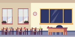L'intérieur vide de salle de classe, dirigent l'illustration plate Éléments de mobilier scolaire et de conception De nouveau au f Photo libre de droits