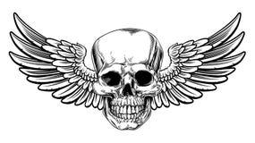 L'intaglio in legno d'annata alato del cranio ha inciso lo stile illustrazione vettoriale
