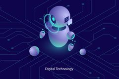 L'intelligence artificielle du robot AI, la consultation en ligne et l'appui, informatique, ont automatisé le système de l'analys photos stock