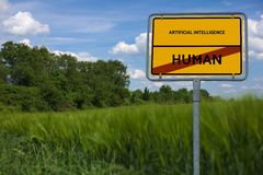 L'INTELLIGENCE ARTIFICIELLE - HUMAIN - image avec des mots s'est associée à l'INTELLIGENCE ARTIFICIELLE de sujet, nuage de mot, c Images libres de droits
