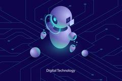L'intelligenza artificiale di ai del robot, la consultazione online ed il supporto, tecnologie informatiche, hanno automatizzato  illustrazione di stock